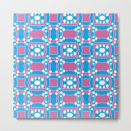 Tiffany - Symmetrical Abstract Art in Blue, Purple and White Metal Print