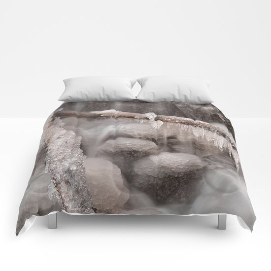Frozen Winter Waterfall Comforters