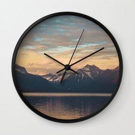 golden hour at lake mcdonald Wall Clock