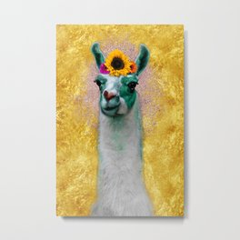 Flower Power Llama Metal Print