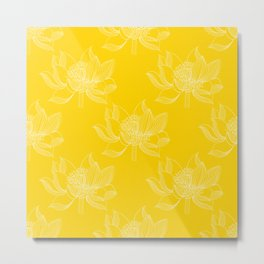 Lovely Modern Lotus Flowers on Sunny Yellow Background - Spring Summer Mood #decor #society6 #buyart Metal Print
