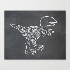 Raptor Dinosaur (A.K.A Bird of Prey) Butcher Meat Diagram Canvas Print