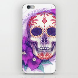 Mexican Skull with Bugambilias iPhone Skin