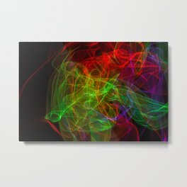 Abstract multicolored smoke. Soft texture of waves of various colors Metal Print
