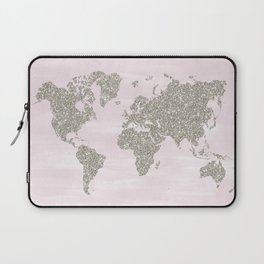 Pink and silver glitter world map Laptop Sleeve