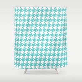 cats-tooth in teal and white (houndstooth pattern) Shower Curtain