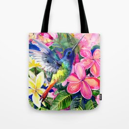 Hummingbird and Plumeria Florwers Tropical bright colored foliage floral Hawaiian Flowers Tote Bag