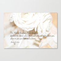 scripture Canvas Prints featuring Roses and Scripture by KarenHarveyCox