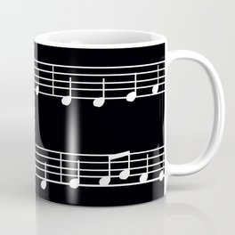 Sheet Music White Notes on Black Background Coffee Mug
