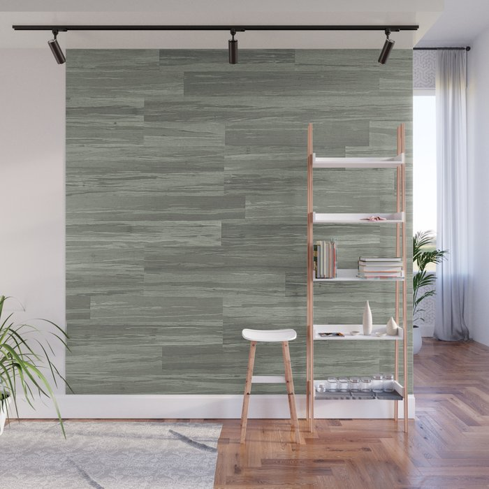 Green Bamboo Planks Wall Mural by starsliveforever