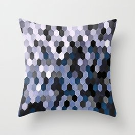 Honeycomb Pattern In Gray and Blue Wintry Colors Throw Pillow