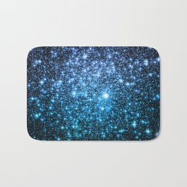 Galaxy Sparkle Stars Periwinkle Blue Turquoise Ombre Bath Mat