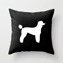 Poodle silhouette black and white square minimal modern dog art pet portrait dog breeds Throw Pillow