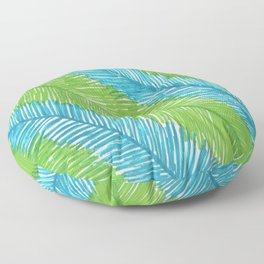 Blue and Green Palm Leaves Floor Pillow