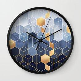 Cloudy Blue + Golden Hexagonal Modern Abstract Pattern Wall Clock