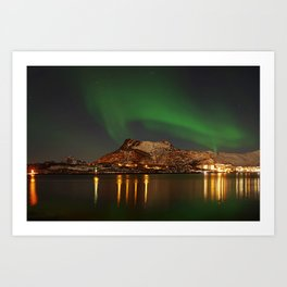 Landscape with the Northern Lights Art Print