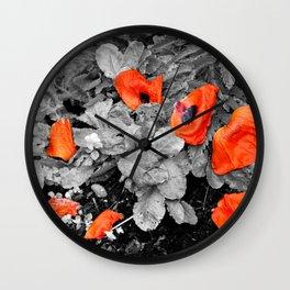 Fallen Poppies Wall Clock