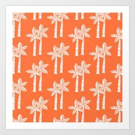 Palm Tree Pattern Orange 3 Art Print