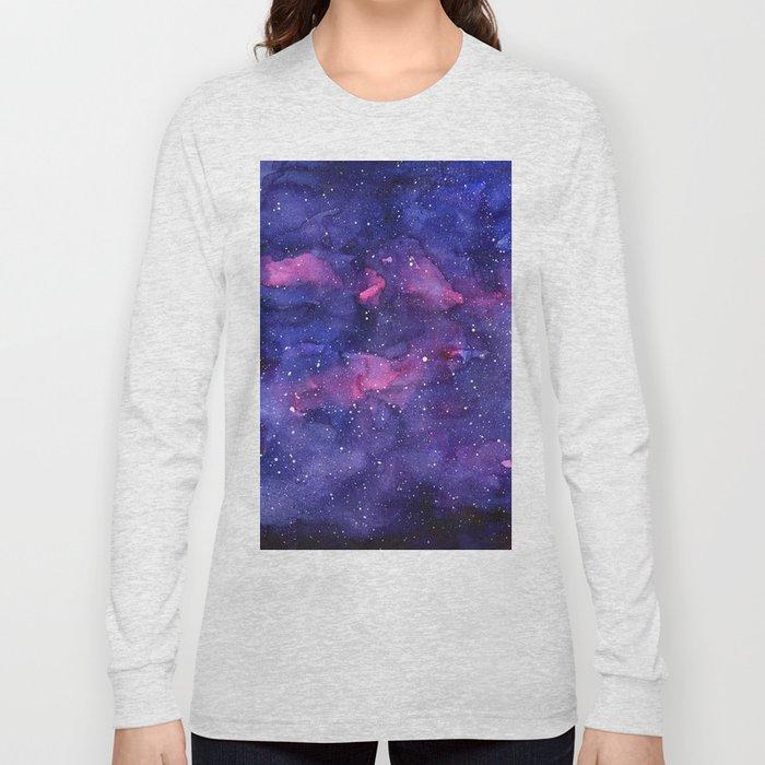 Galaxy Pattern Watercolor Long Sleeve T-shirt