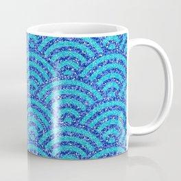 Japanese Woodblock Printing Bright Blue Asian   Coffee Mug