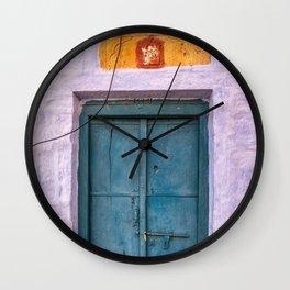 Antique Purple Door at Fort in Jaisalmer Rajasthan India Wall Clock