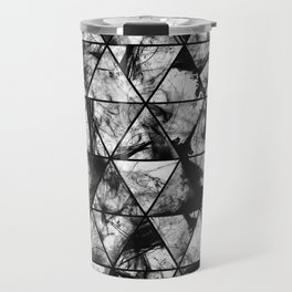 Triangular Whispers - Black and white, geometric abstract Travel Mug