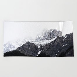 Moody snow capped Mountain Peaks - Nature Photography Beach Towel