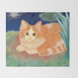 Moonlight Orange Cat Throw Blanket