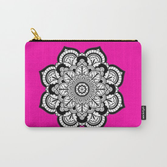 Black and White Flower in Magenta Carry-All Pouch