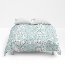Paper Airplanes Mint Comforters