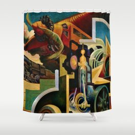 Classical Masterpiece 'Instruments of Power - Train, Airplane, Steam by Thomas Hart Benton Shower Curtain