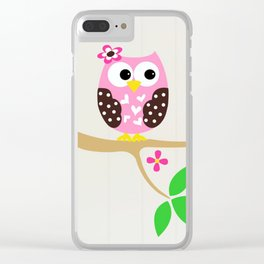 PINK OWL Clear iPhone Case