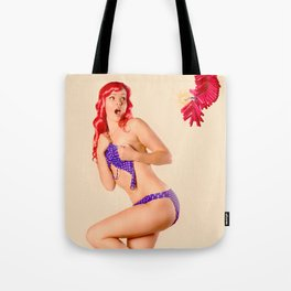 """Crackle Pop"" - The Playful Pinup - Fourth of July Fireworks Pinup Girl by Maxwell H. Johnson Tote Bag"