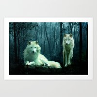 wolves Art Prints featuring Wolves by Julie Hoddinott
