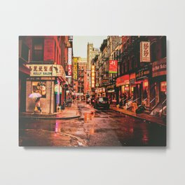 New York City Rain in Chinatown Metal Print