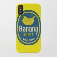 sticker iPhone & iPod Cases featuring Banana Sticker On Yellow by Karolis Butenas