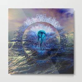 Jellyfish And Fan Coral Metal Print