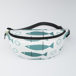 Mid Century Modern Fish Pattern Turquoise Teal Fanny Pack