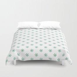 Cadmium Green on White Snowflakes Duvet Cover