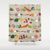 vegetarian Shower Curtains featuring Vegetarian pattern by Darish