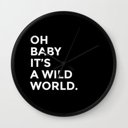 Wild World [black] Wall Clock