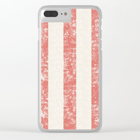 Maritime Beach Pattern- Red and White Stripes- Vertical - Clear iPhone Case
