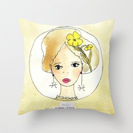 Rock Rose - Fish- Zodiac sign Throw Pillow