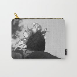 Spirited Sunflower (black and white) Carry-All Pouch