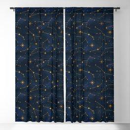 N48 - Indigo dark blue night space with shining stars by Arteresting Blackout Curtain