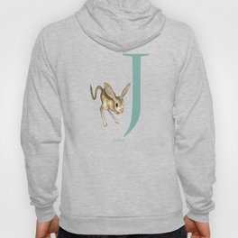 J is for Jerboa: Under Appreciated Animals™ ABC nursery decor dark grey unusual animals Hoody