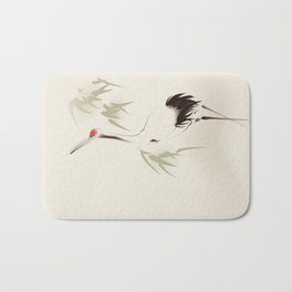 Oriental Red-Crowned Crane 001 Bath Mat