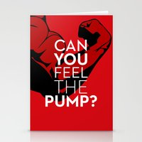 crossfit Stationery Cards featuring CAN YOU FEEL THE PUMP? FITNESS SLOGAN CROSSFIT MUSCLE by HAPPY