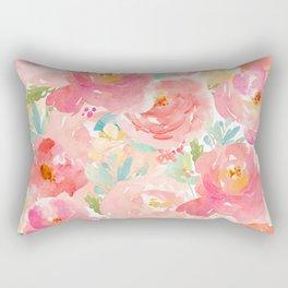 Preppy Pink Peonies Rectangular Pillow