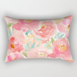 Preppy Pink Peonies Rectangular Pillow